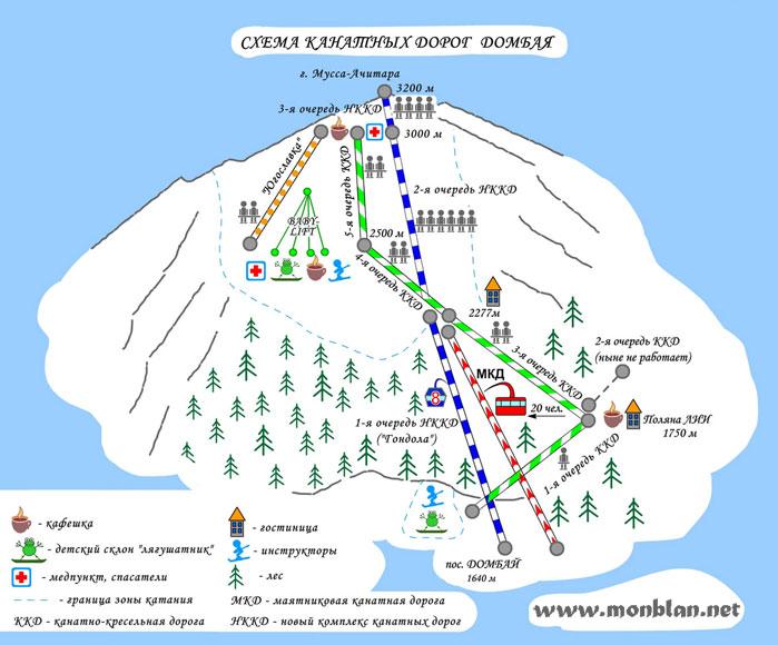 схема канатных дорог Домбая